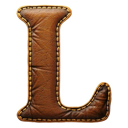 Leather letter L uppercase. 3D render font with skin texture isolated on white background. 3d rendering