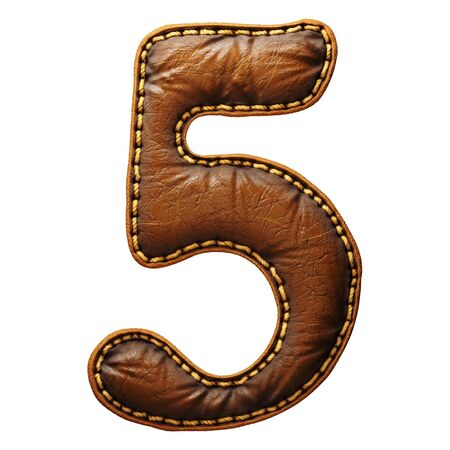 Number 5 made of leather. 3D render font with skin texture isolated on white background. 3d rendering