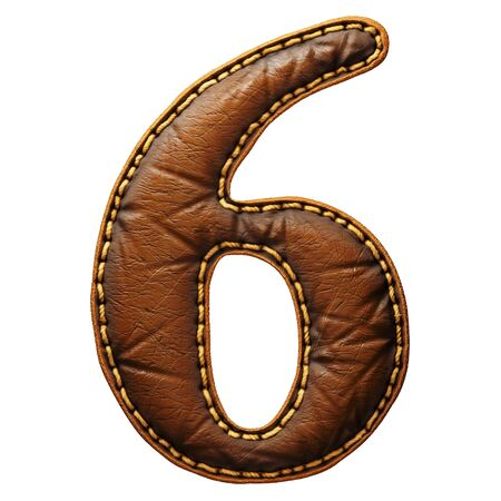 Number 6 made of leather. 3D render font with skin texture isolated on white background. 3d rendering Banco de Imagens