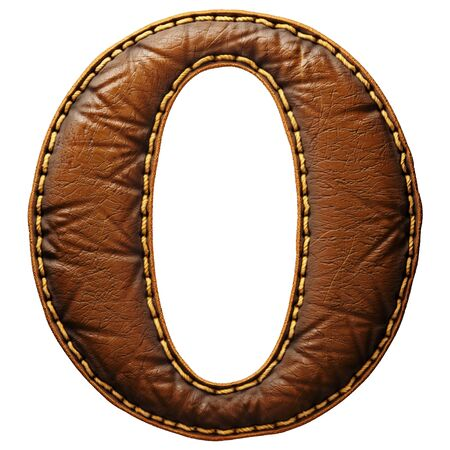 Leather letter O uppercase. 3D render font with skin texture isolated on white background. 3d rendering