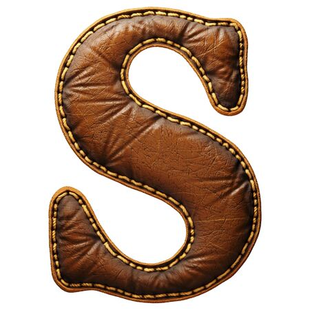 Leather letter S uppercase. 3D render font with skin texture isolated on white background. 3d rendering