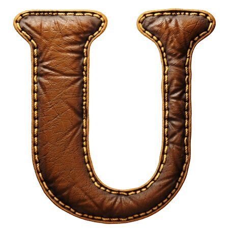 Leather letter U uppercase. 3D render font with skin texture isolated on white background. 3d rendering Banco de Imagens