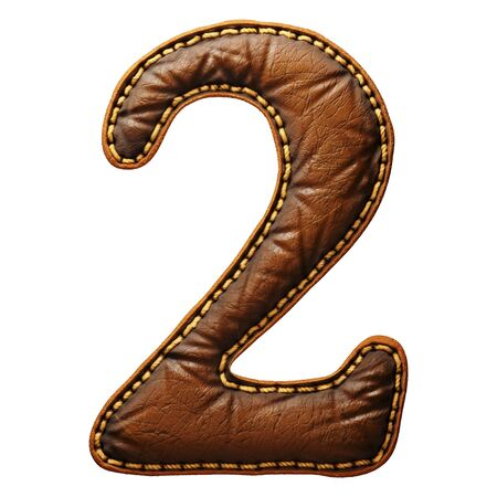 Number 2 made of leather. 3D render font with skin texture isolated on white background. 3d rendering