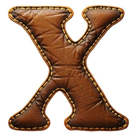 Leather letter X uppercase. 3D render font with skin texture isolated on white background. 3d rendering