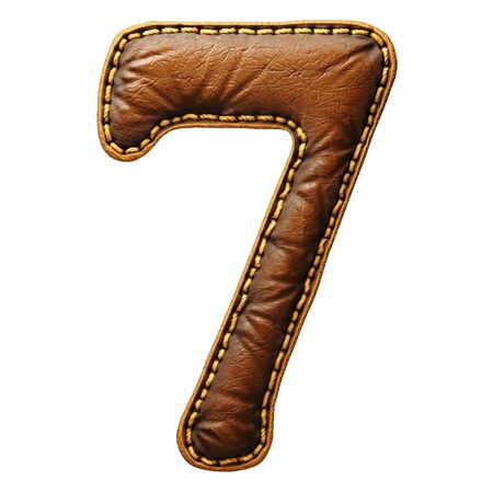 Number 7 made of leather. 3D render font with skin texture isolated on white background. 3d rendering