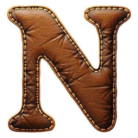 Leather letter N uppercase. 3D render font with skin texture isolated on white background. 3d rendering Banco de Imagens