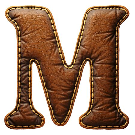 Leather letter M uppercase. 3D render font with skin texture isolated on white background. 3d rendering