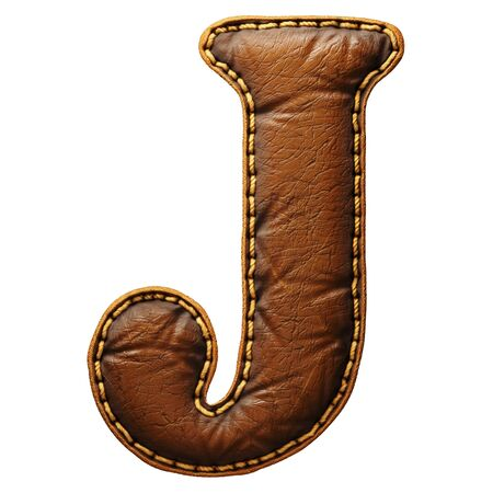 Leather letter J uppercase. 3D render font with skin texture isolated on white background. 3d rendering