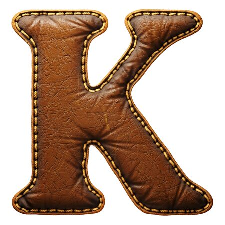Leather letter K uppercase. 3D render font with skin texture isolated on white background. 3d rendering