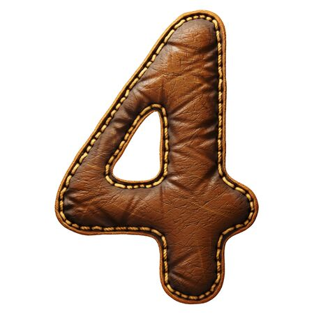 Number 4 made of leather. 3D render font with skin texture isolated on white background. 3d rendering