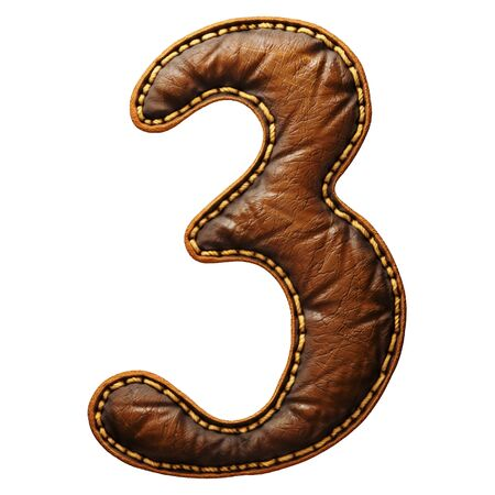 Number 3 made of leather. 3D render font with skin texture isolated on white background. 3d rendering