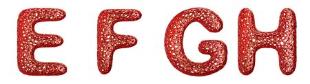 Realistic 3D letters set E, F, G, H made of red plastic. Collection symbols of plastic with abstract holes isolated on white background 3d rendering