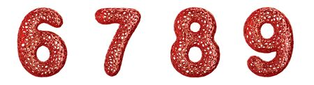 Realistic 3D letters set 6, 7, 8, 9 made of red plastic. Collection symbols of plastic with abstract holes isolated on white background 3d rendering