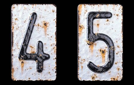 3D render set of numbers 4, 5 made of forged metal on the background fragment of a metal surface with cracked rust. 3d rendering 写真素材