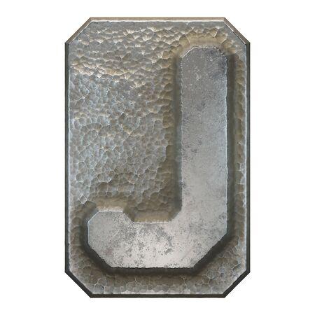 Industrial metal alphabet letter J on white background. 3d rendering