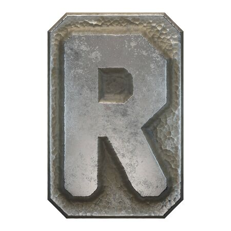 Industrial metal alphabet letter R on white background. 3d rendering