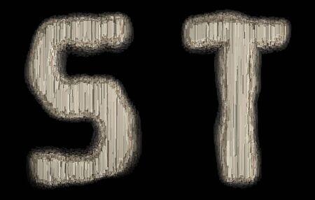 Set of industrial metal alphabet letter S and T on black background. 3d rendering