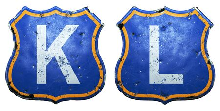 Set of Public road signs in blue and orange color with a capitol white letters K, L in the center isolated white background. 3d rendering Reklamní fotografie
