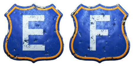 Set of Public road signs in blue and orange color with a capitol white letters E, F in the center isolated white background. 3d rendering Banco de Imagens