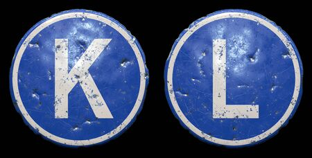 Set of public road sign in blue color with a capitol white letters K and L in the center isolated black background. 3d rendering