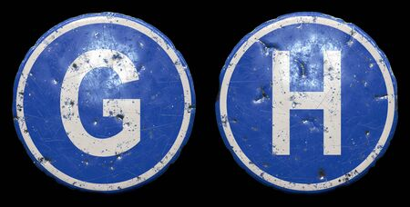 Set of public road sign in blue color with a capitol white letters G and H in the center isolated black background. 3d rendering