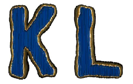 Set of alphabet letters K and L made of industrial metal blue color. Isolated white background. 3d rendering
