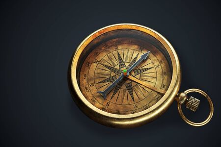 Vintage compass isolated on black background. Close up view 3d rendering Banque d'images