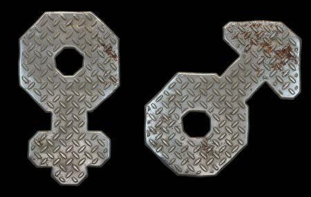 Set of symbols female and male made of industrial metal on black background 3d rendering