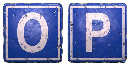Set of public road sign in blue color with a capital white letters O and P in the center isolated on white background 3d rendering