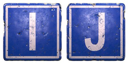 Set of public road sign in blue color with a capital white letters I and J in the center isolated on white background 3d rendering
