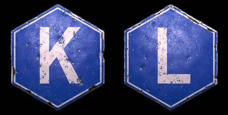 Set of public road signs in blue color with a capital white letter K and L in the center on black background. 3d rendering