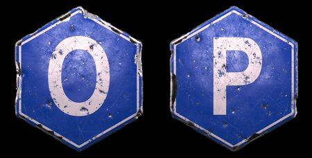 Set of public road signs in blue color with a capital white letter O and P in the center on black background. 3d rendering