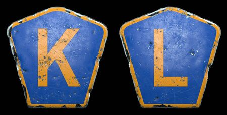 Set of public road signs in blue and orange color with a capital letters K and L in the center isolated black background. 3d rendering