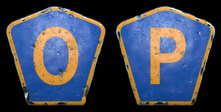 Set of public road signs in blue and orange color with a capital letters O and P in the center isolated black background. 3d rendering
