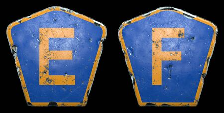 Set of public road signs in blue and orange color with a capital letters E and F in the center isolated black background. 3d rendering
