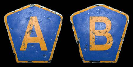 Set of public road signs in blue and orange color with a capital letters A and B in the center isolated black background. 3d rendering