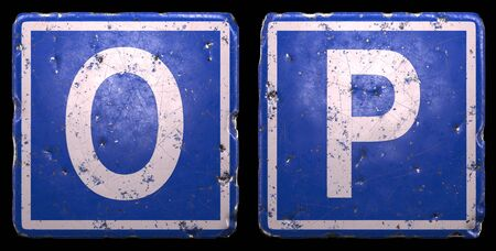Set of public road sign in blue color with a capital white letters O and P in the center isolated of black background. 3d rendering