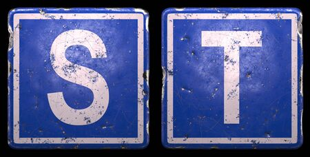Set of public road sign in blue color with a capital white letters S and T in the center isolated of black background. 3d rendering 写真素材
