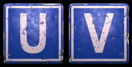 Set of public road sign in blue color with a capital white letters U and V in the center isolated of black background. 3d rendering Banque d'images