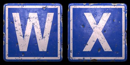 Set of public road sign in blue color with a capital white letters W and X in the center isolated of black background. 3d rendering
