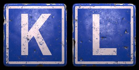 Set of public road sign in blue color with a capital white letters K and L in the center isolated of black background. 3d rendering
