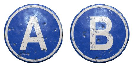 Set of public road sign in blue color with a capitol white letters A and B in the center isolated white background. 3d rendering