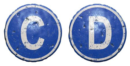 Set of public road sign in blue color with a capitol white letters C and D in the center isolated white background. 3d rendering