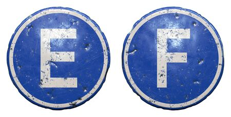 Set of public road sign in blue color with a capitol white letters E and F in the center isolated white background. 3d rendering