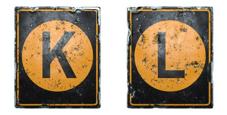Set of public road sign orange and black color with a capital letters K and L in the center isolated on white background. 3d rendering Reklamní fotografie