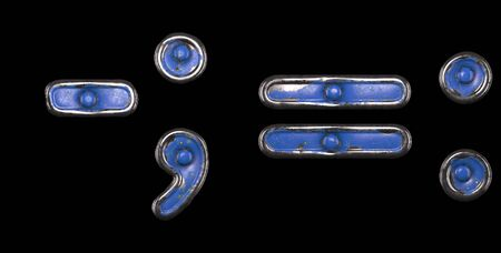 Set of symbols tilde, semi-colon, equals, colon made of painted metal with blue rivets on black background. 3d rendering