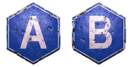 Set of public road signs in blue color with a capital white letter A and B in the center isolated on white background. 3d rendering