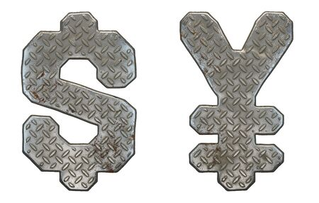 Set of symbols dollar and yen made of industrial metal on white background 3d rendering