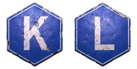 Set of public road signs in blue color with a capital white letter K and L in the center isolated on white background. 3d rendering