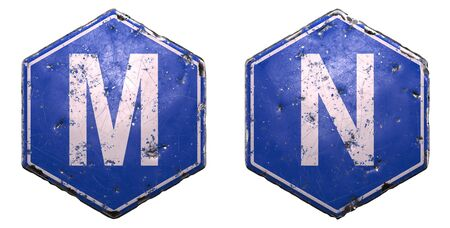 Set of public road signs in blue color with a capital white letter M and N in the center isolated on white background. 3d rendering